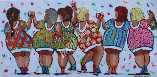 Feestende Dames - 140x70cm